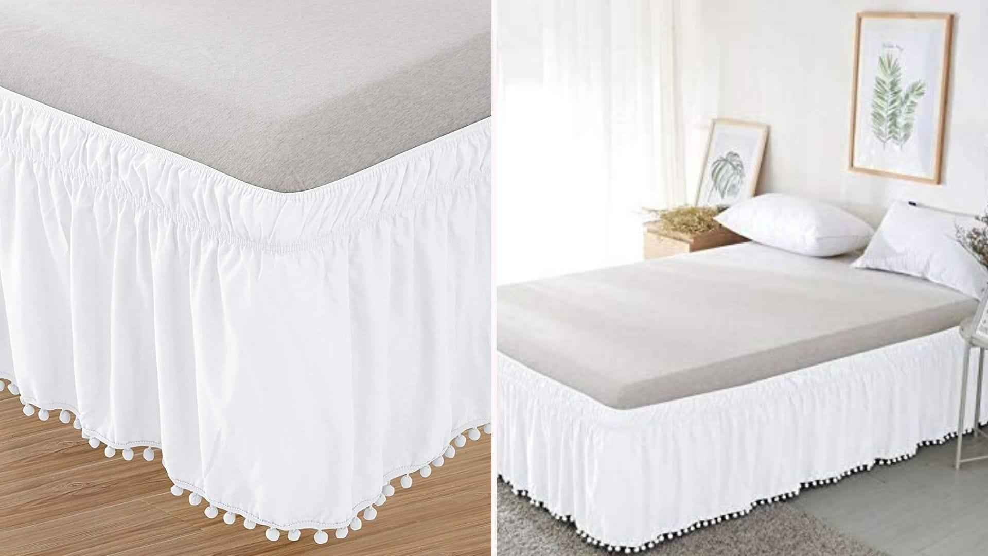 corner view white tasseled bed skirt on bed