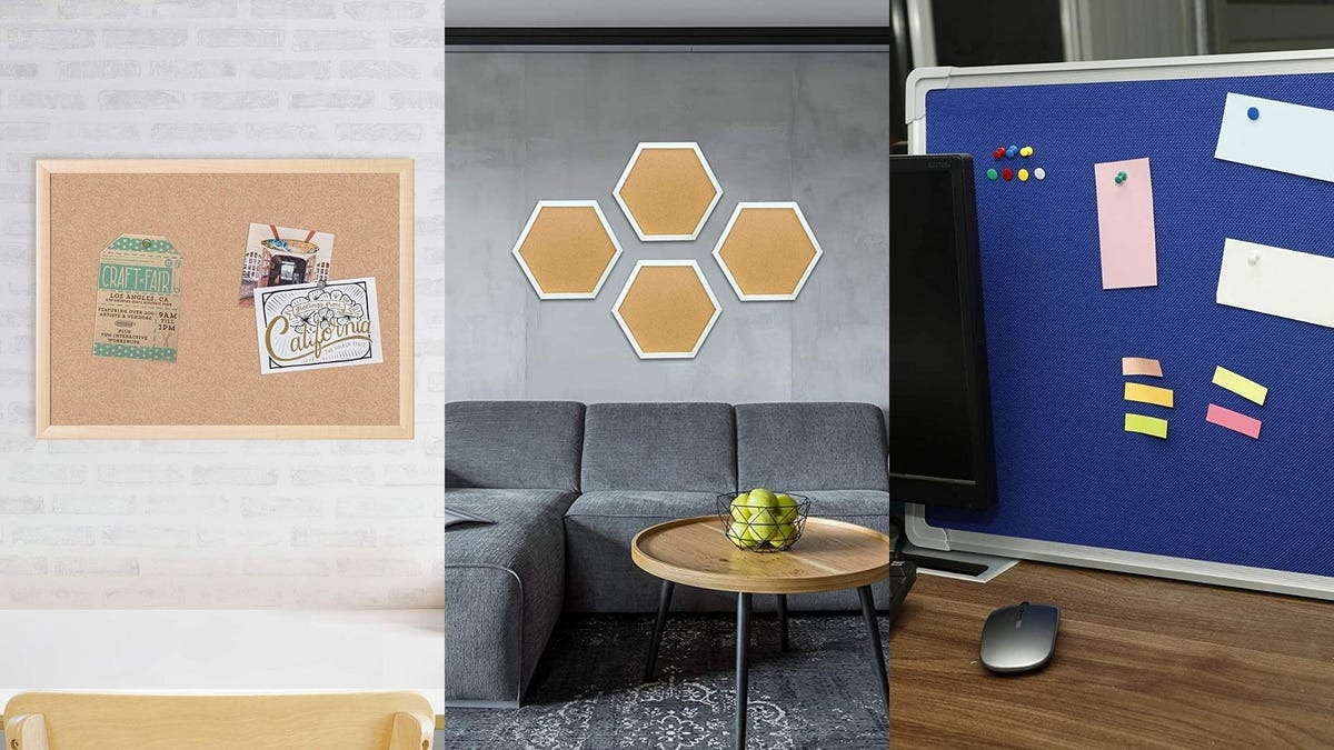 On the left, a cork bulletin board with hanging on a white brick wall. In the center, four hexagon cork bulletin boards hang in a living room. On the right, a blue felt bulletin board with notes and pins is hung in an office.