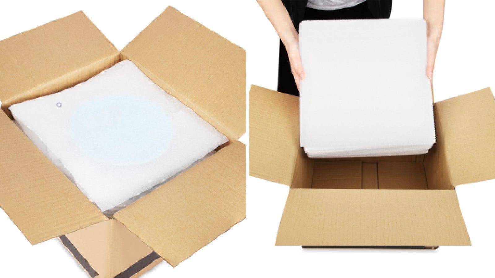 Two images of boxes being packed and layering items with DAT foam sheets.