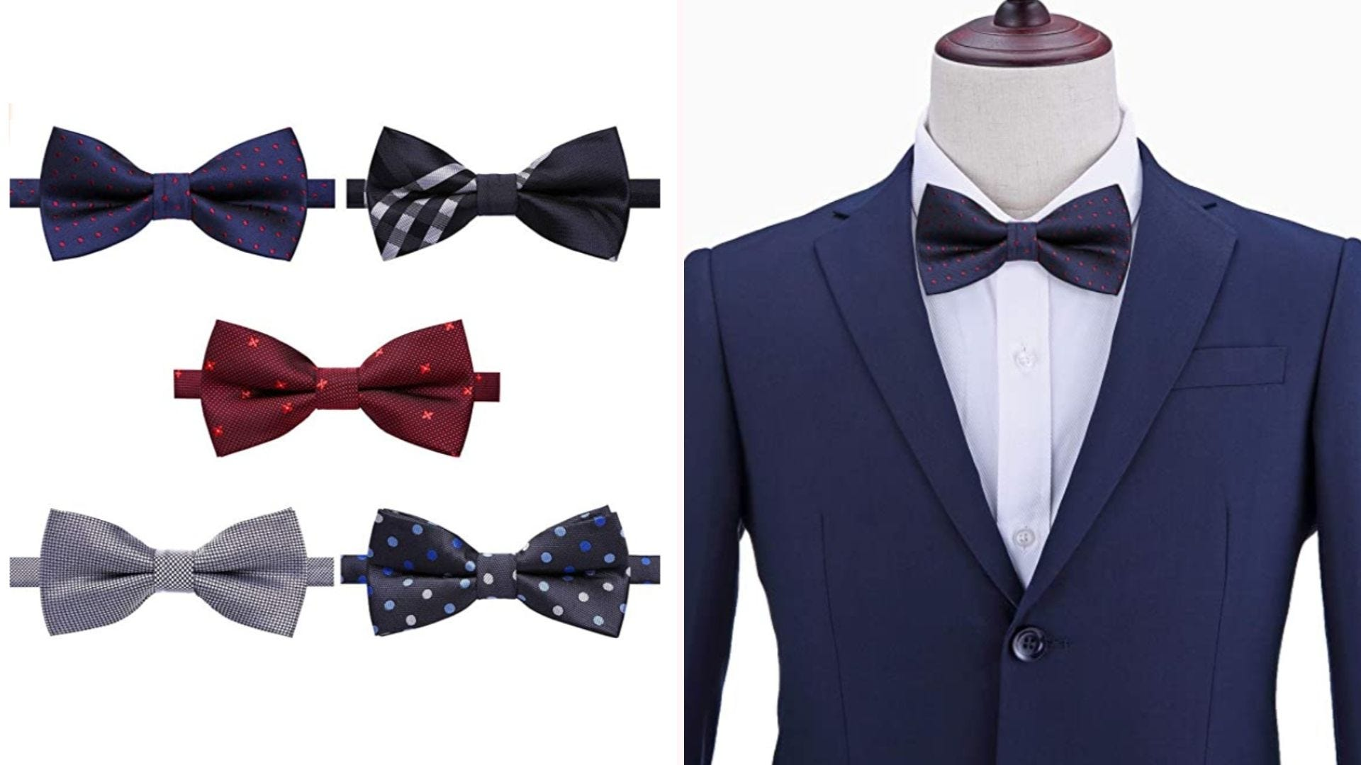 On the left, five patterned bow ties are displayed. On the right, a mannequin wears a navy suit with a blue bow tie.
