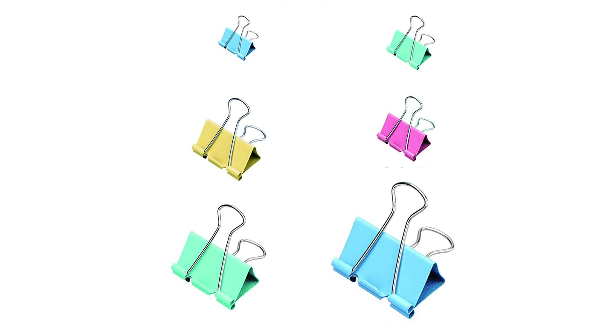 multi sized and colored binder clips displayed on white background