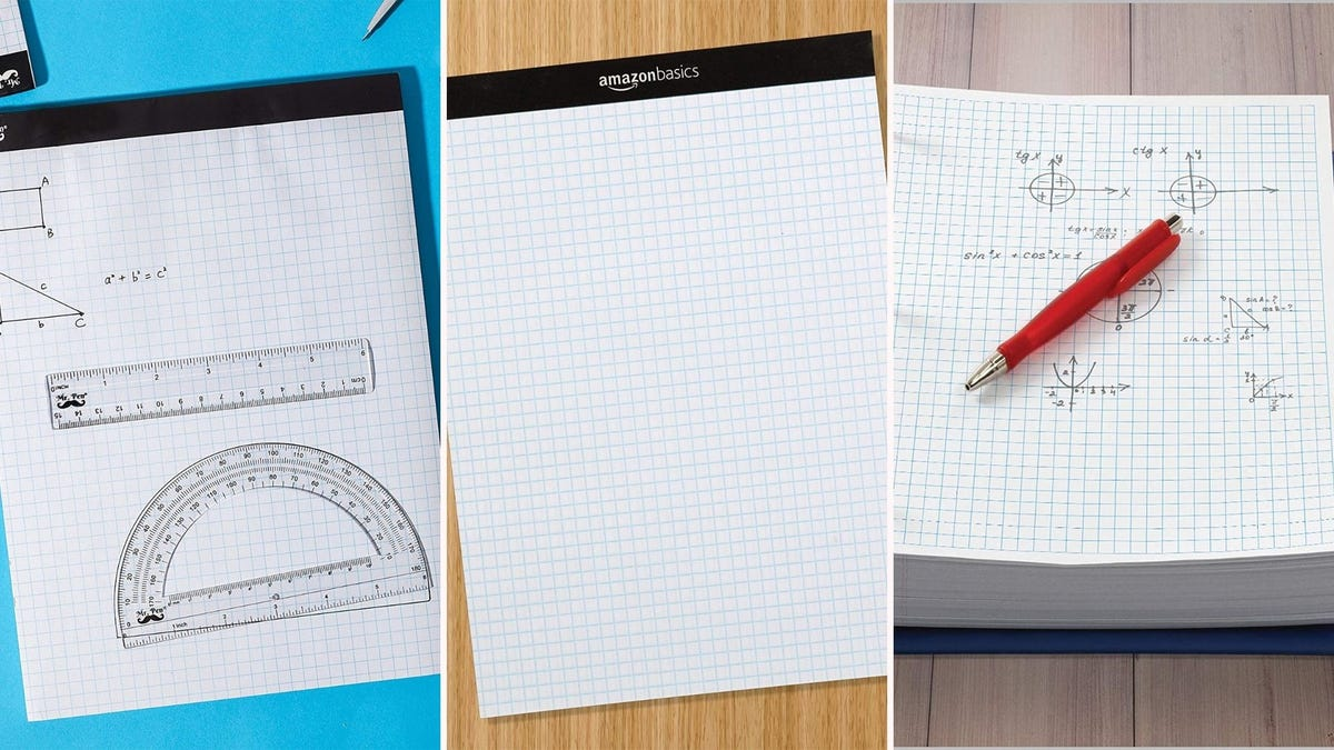 two notepads of graph paper and one stack of graph paper; one is blank and two have mathematical drawings on them