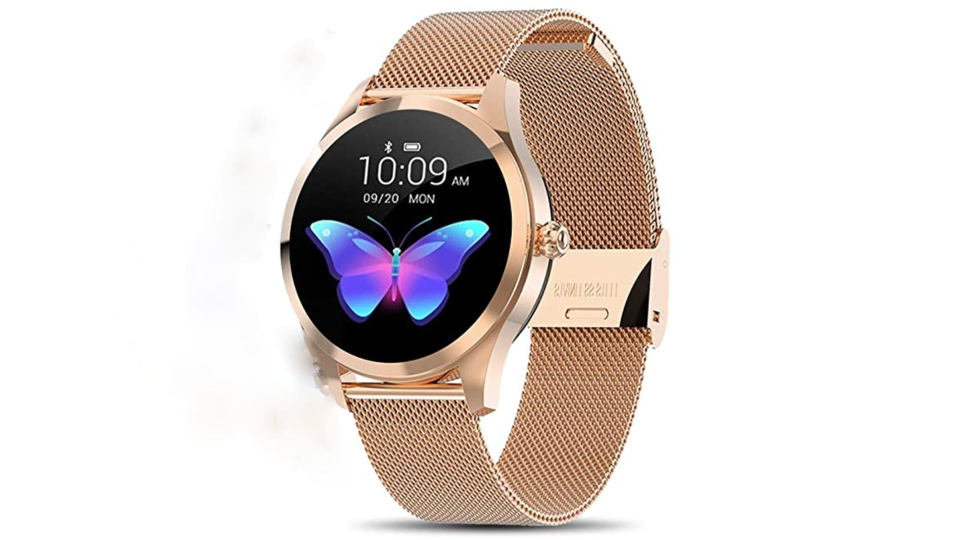 gold banded smart watch, black face background with colorful butterfly