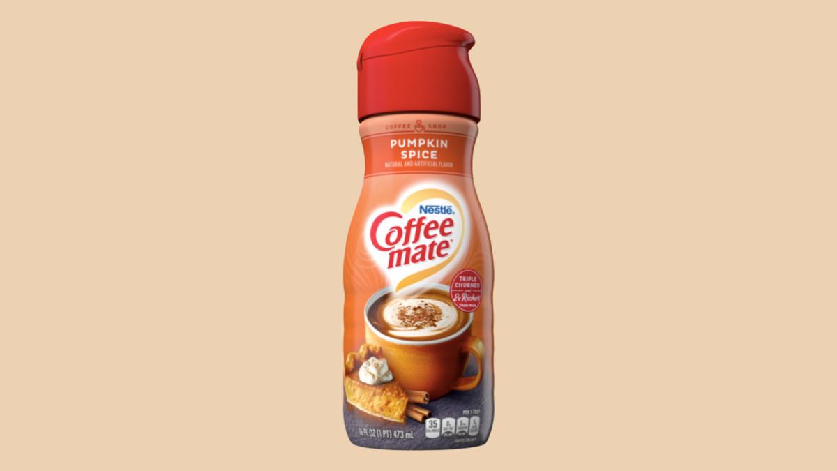 A bottle of pumpkin spice coffee-mate creamer.