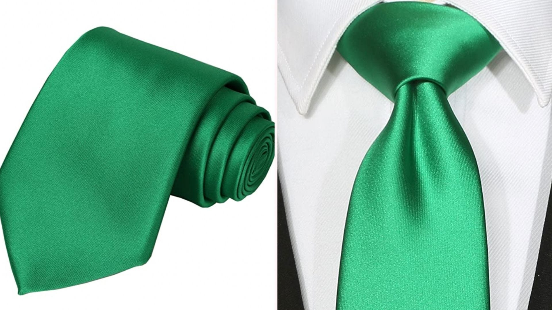 a green shiny necktie rolled up and on a neck over a white collared shirt