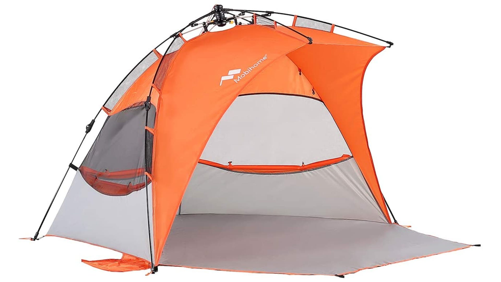 An orange canopy with a wide opening and a bottom layer of fabric.