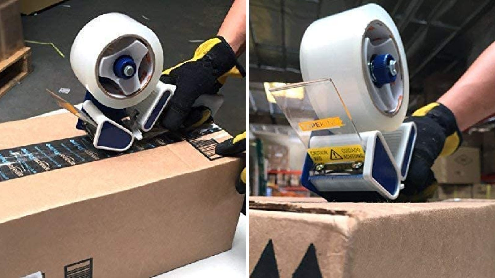 Two images of someone using the Tape King tape dispenser to seal up a box.