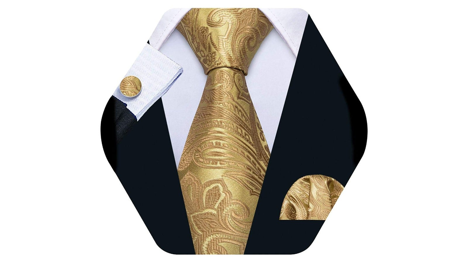 A gold paisley men's necktie with a white collared shirt, suit coat, and matching pocket square