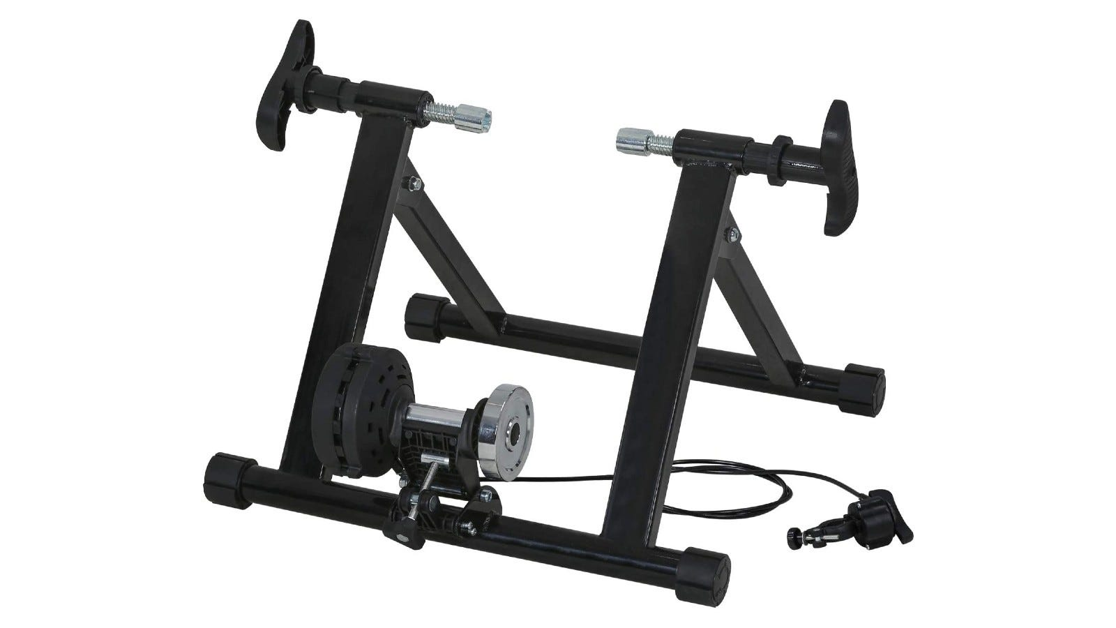 A bike trainer made of sturdy carbon steel material.