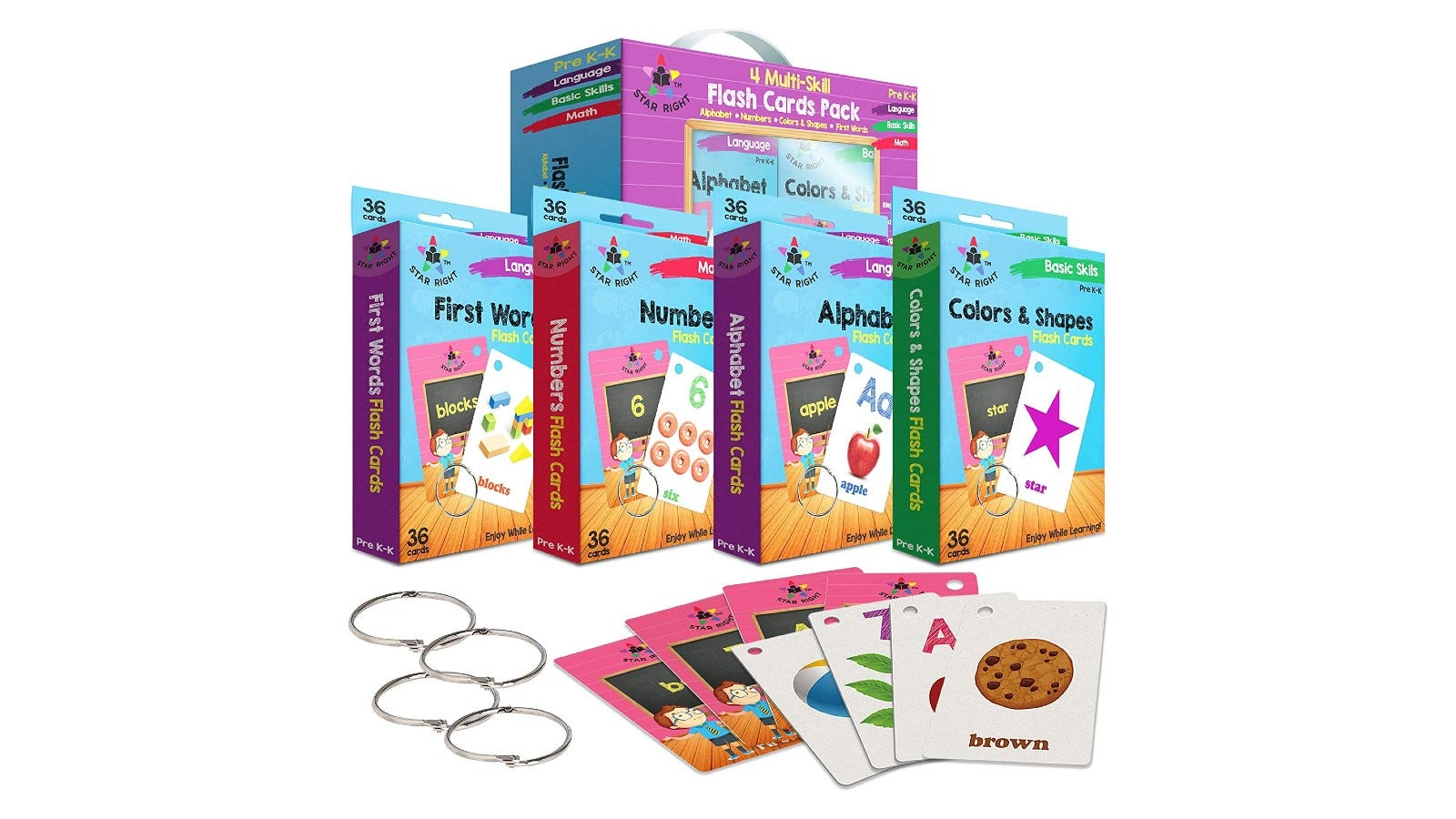 a set of filled-out flashcards for kids with numbers, colors, shapes, letters, and words