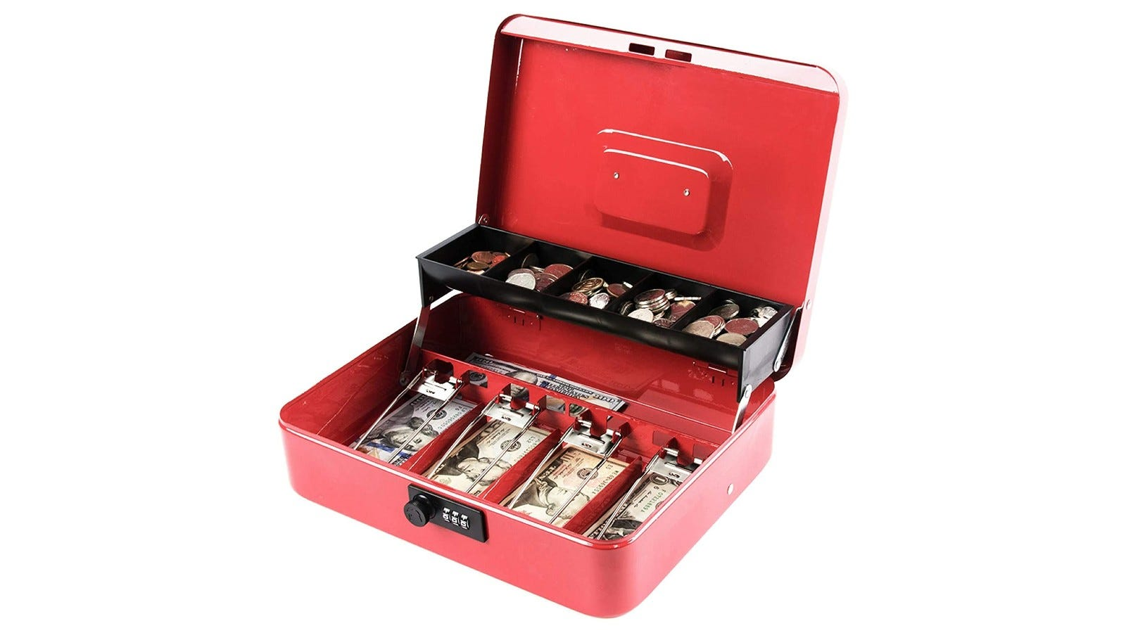a red metal cash box with multiple interior compartments and money
