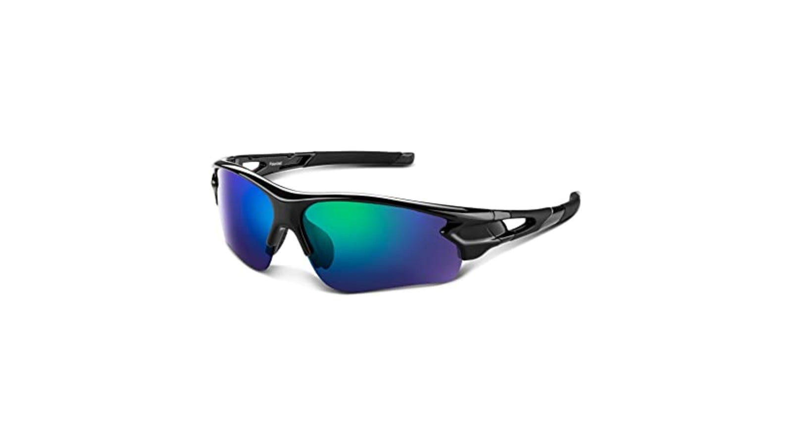 sporty sunglasses with blue lenses and a black plastic frame
