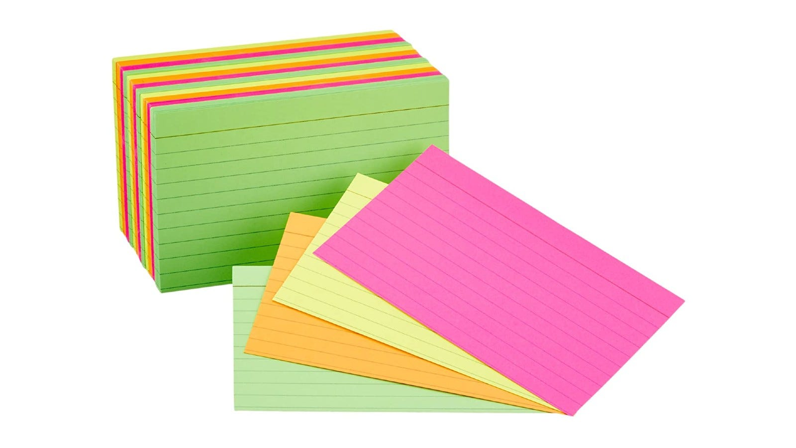 Multicolored lined flashcards stacked