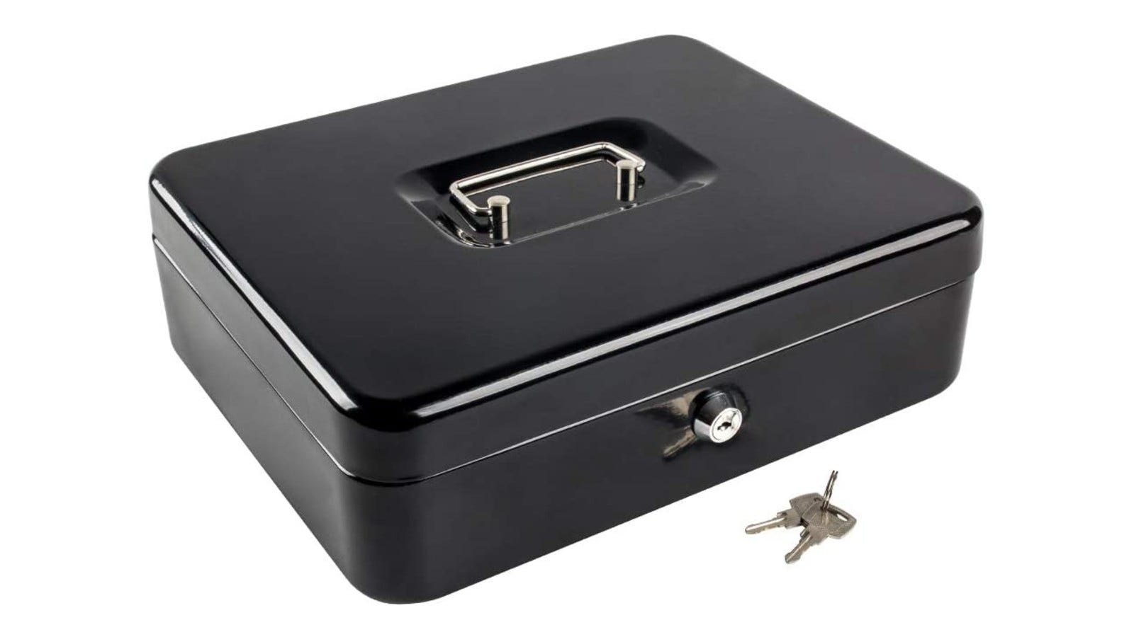 a large black metal cash box with a lock and its keys nearby
