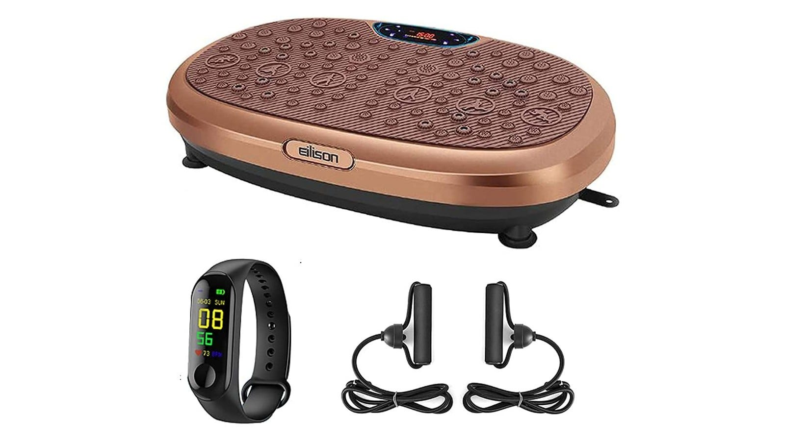 a copper-colored vibration plate with its accessories
