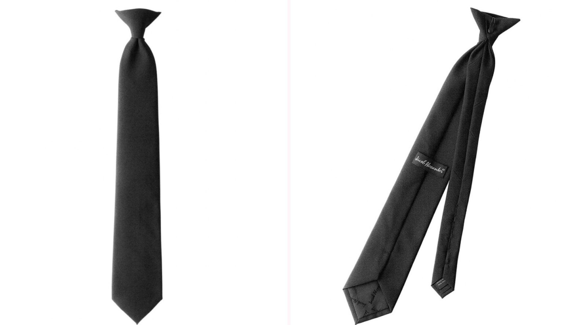 front and back view of a black clip-on necktie