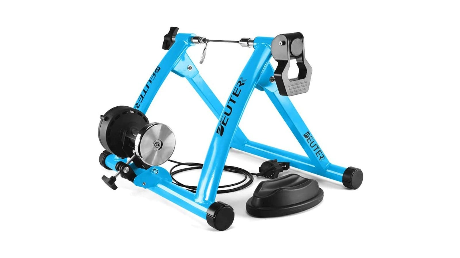 A blue bike trainer with black rubber feet.