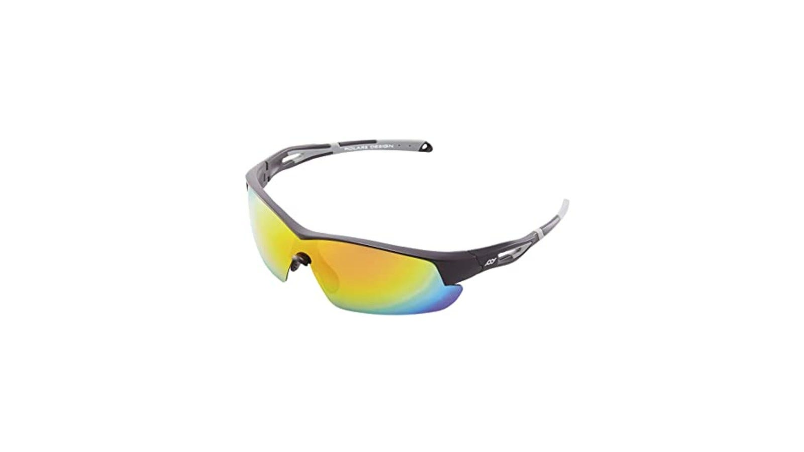 sunglasses with a gray and black frame and yellow polarized lenses