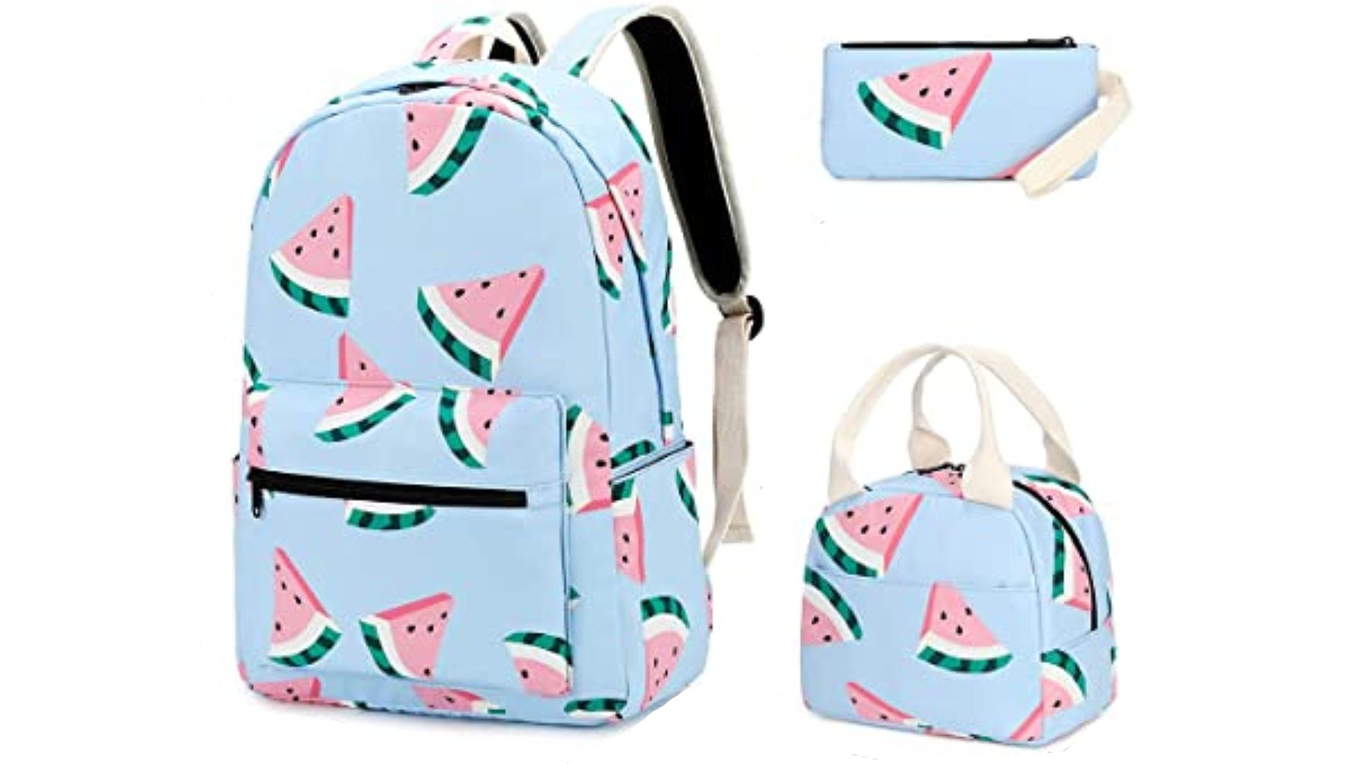 A blue backpack, lunchbox, and pencil case with a watermelon print.