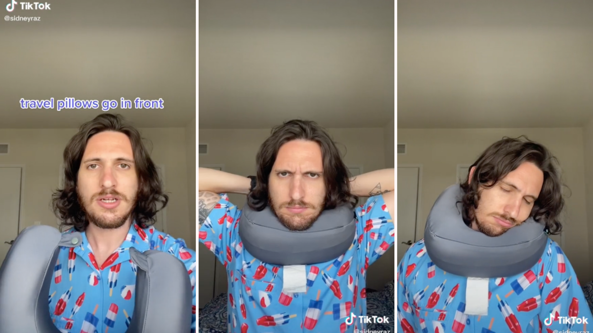 A man holding up a travel neck pillow, places it on his neck with the open side in the back, and then sleeping.