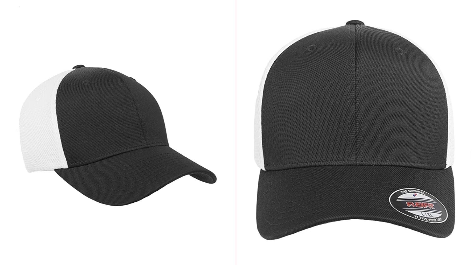 Two views of a black hat with white mesh.