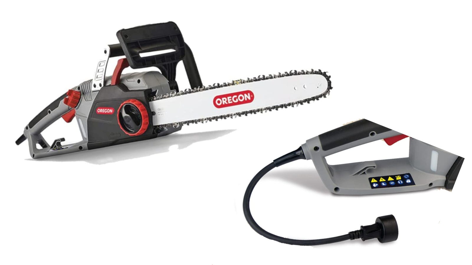 Gray and red 15-amp self-sharpening corded chainsaw with 18 inch bar