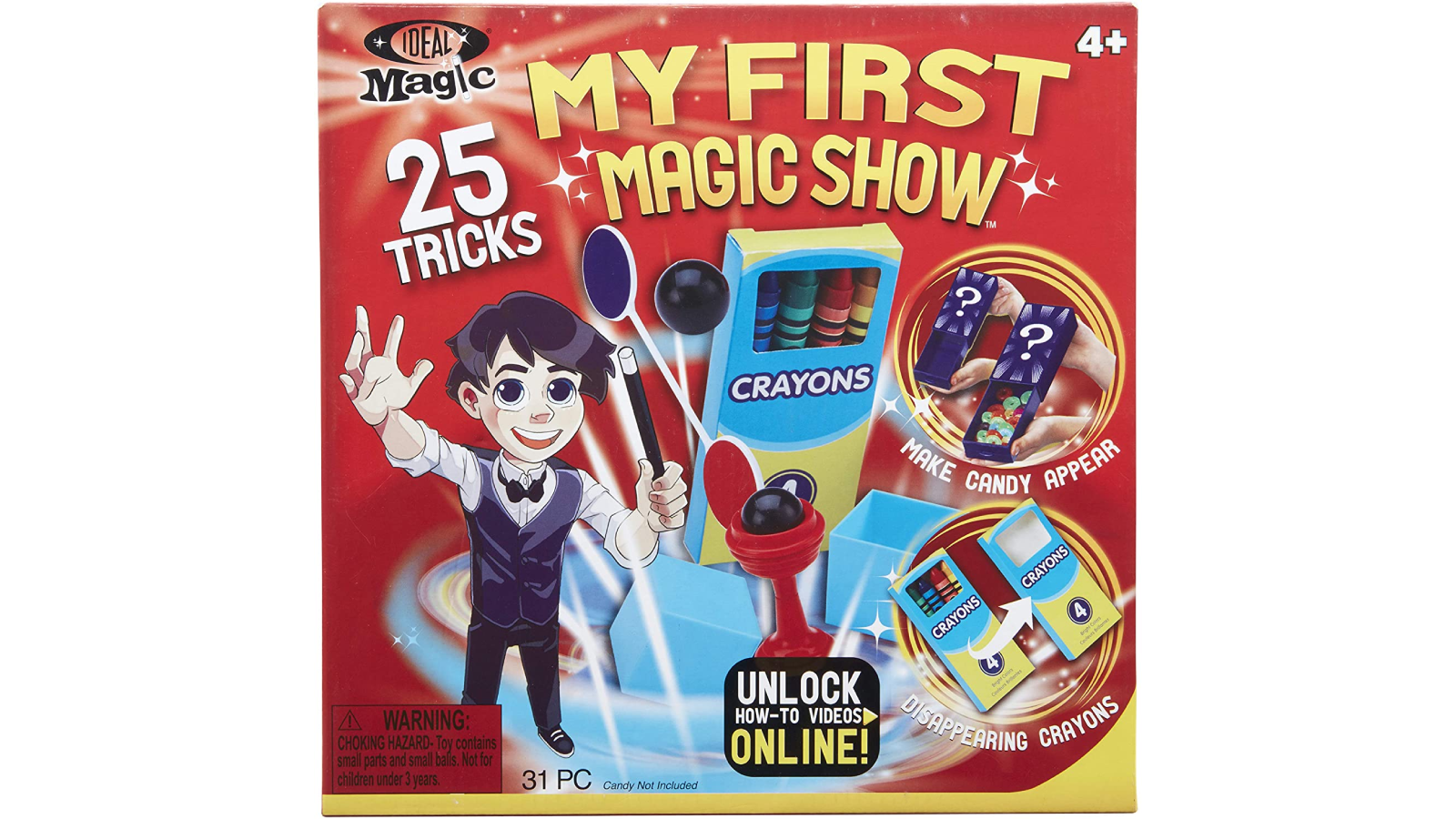 The front of a magic kit box with a cartoon magician.