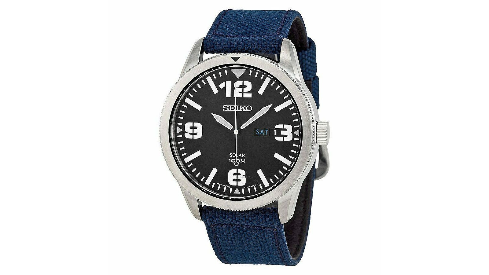 a sports watch with a navy blue elastic band and black numbered watch face