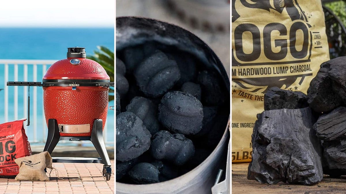 three different pictures of charcoal used for grills