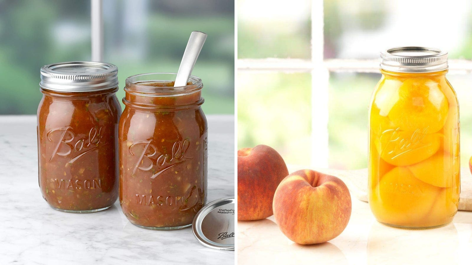 Two images of Ball mason jars used to make canned sauce and canned peaches.