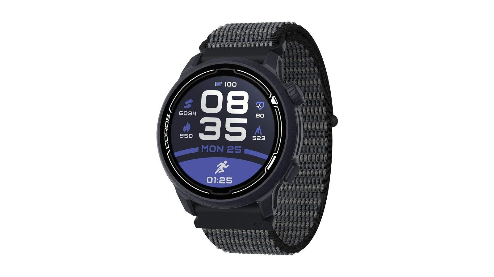 a modern-looking black digital sports watch with blue and white accents on the screen