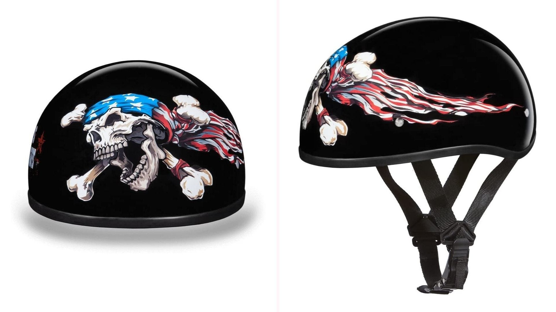A front and side view of a hi-gloss black helmet with a skull and crossbones, which is wrapped in the flag of the United States.