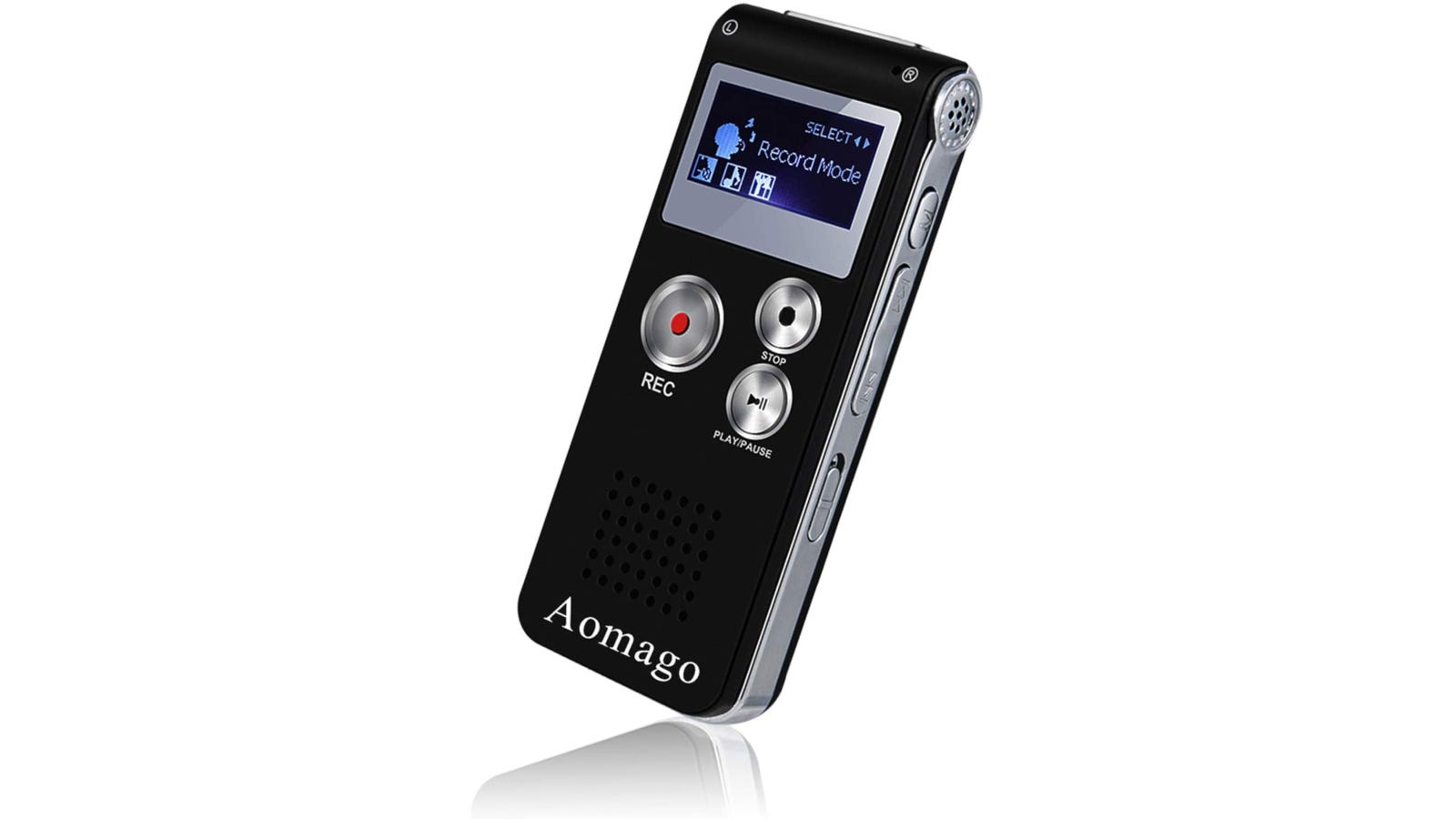 Black 8GB compact digital voice recorder with audio playback and voice activation recording