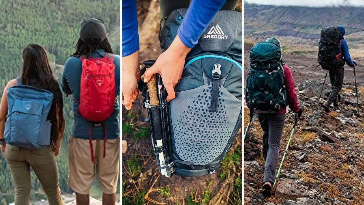 Four people wearing Osprey and Gregory hiking backpacks, and a man sliding gear into a Gregory backpack.