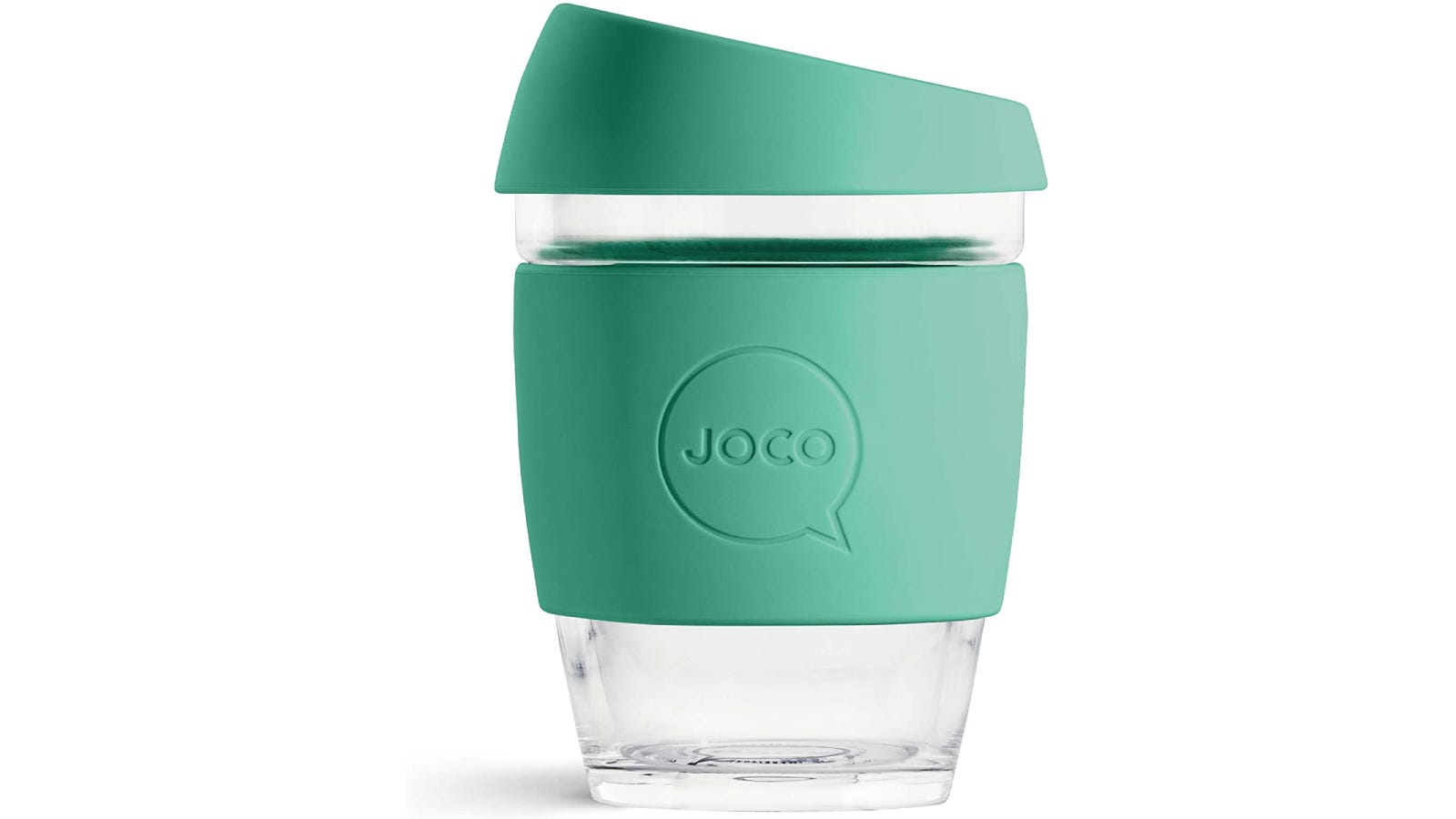 A small glass travel mug with a silicone grip and lid