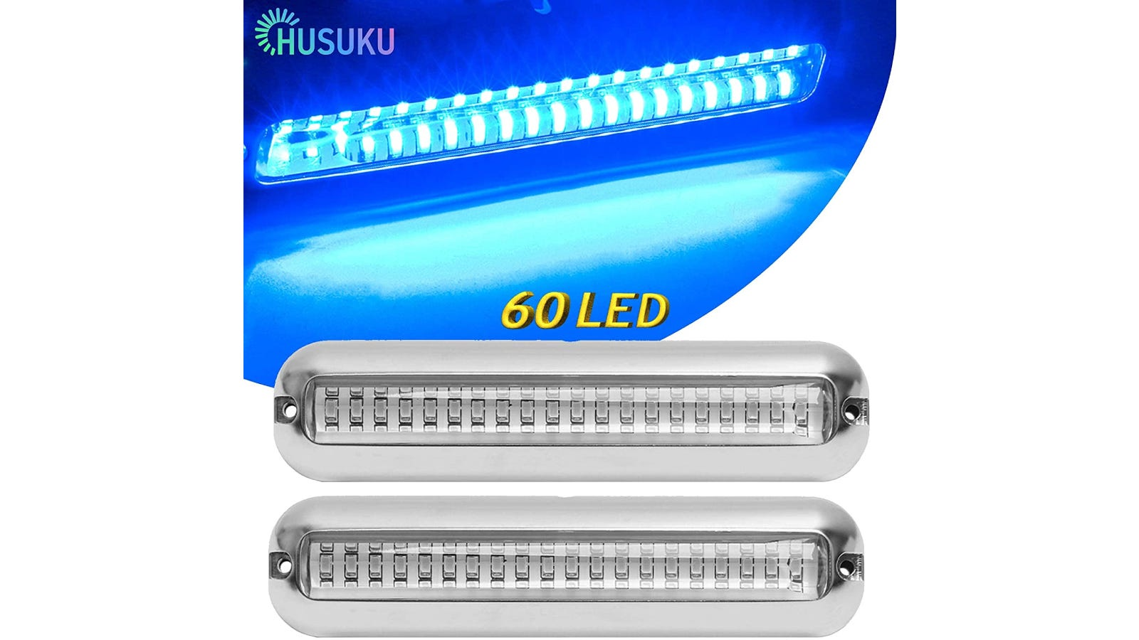 Two long and skinny LED lights for a boat.