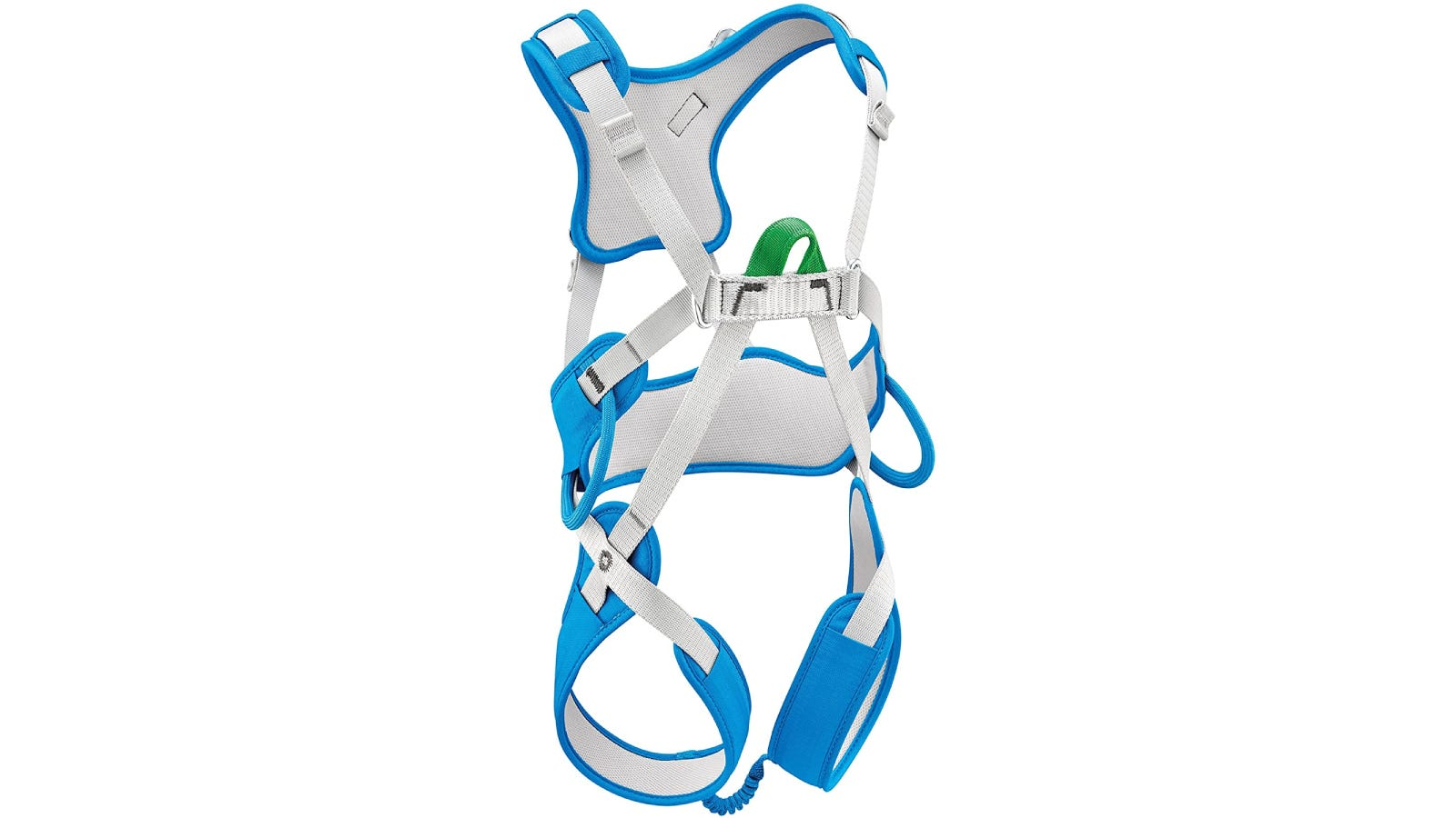 A blue and white full-body climbing harness for kids.