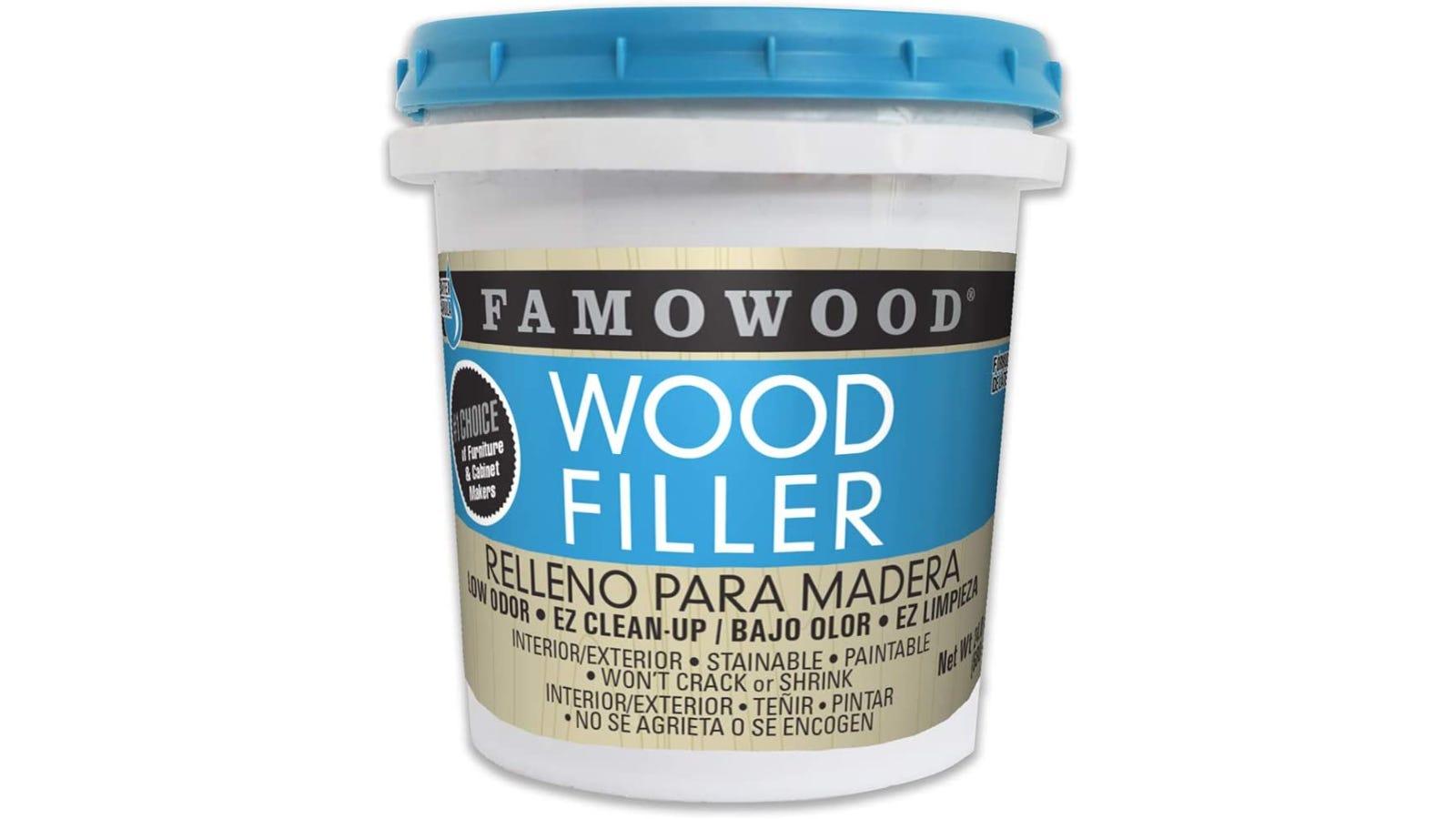 A pint of Famowood wood filler.