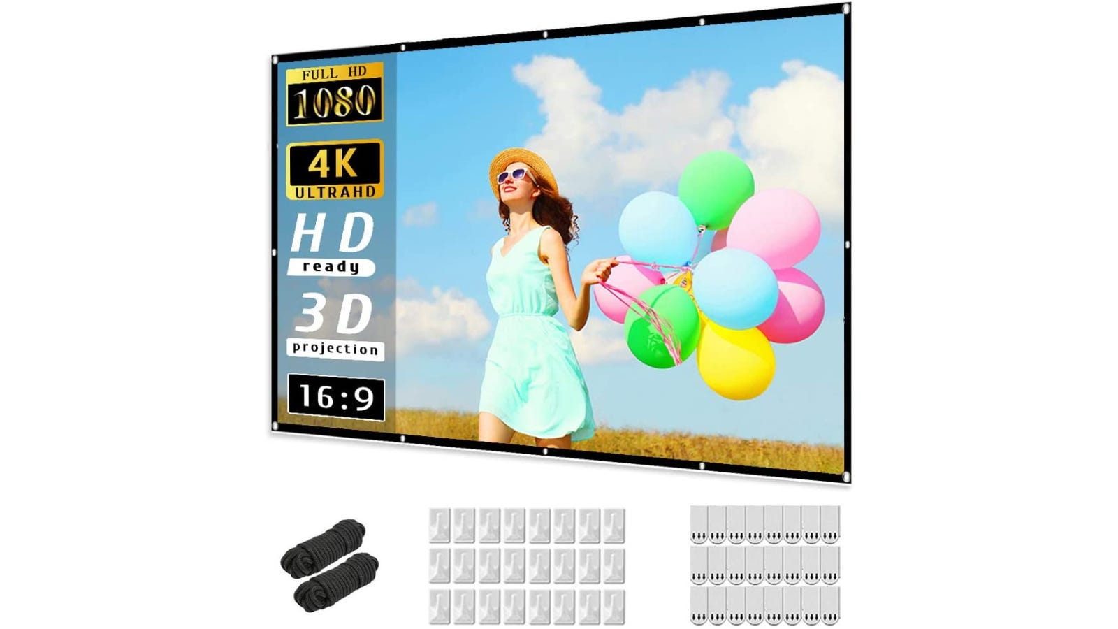 A projector screen with a woman on it holding numerous balloons.