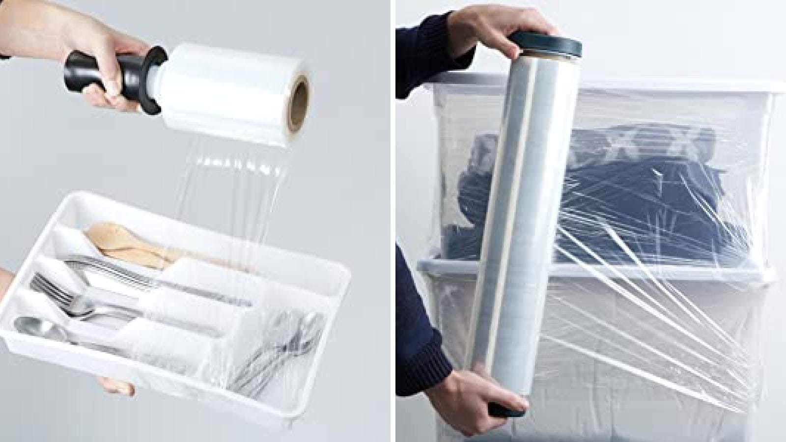 Two images showing how to use Duck stretch wrap when packing for an upcoming move, including wrapping silverware trays and bins of clothes.