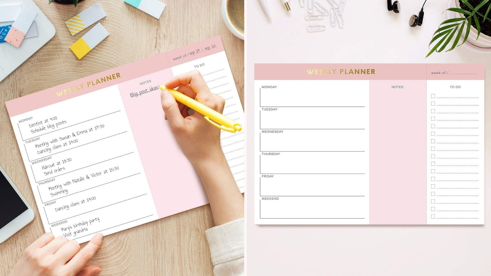 pink accented weekly planner with extra sections for notes