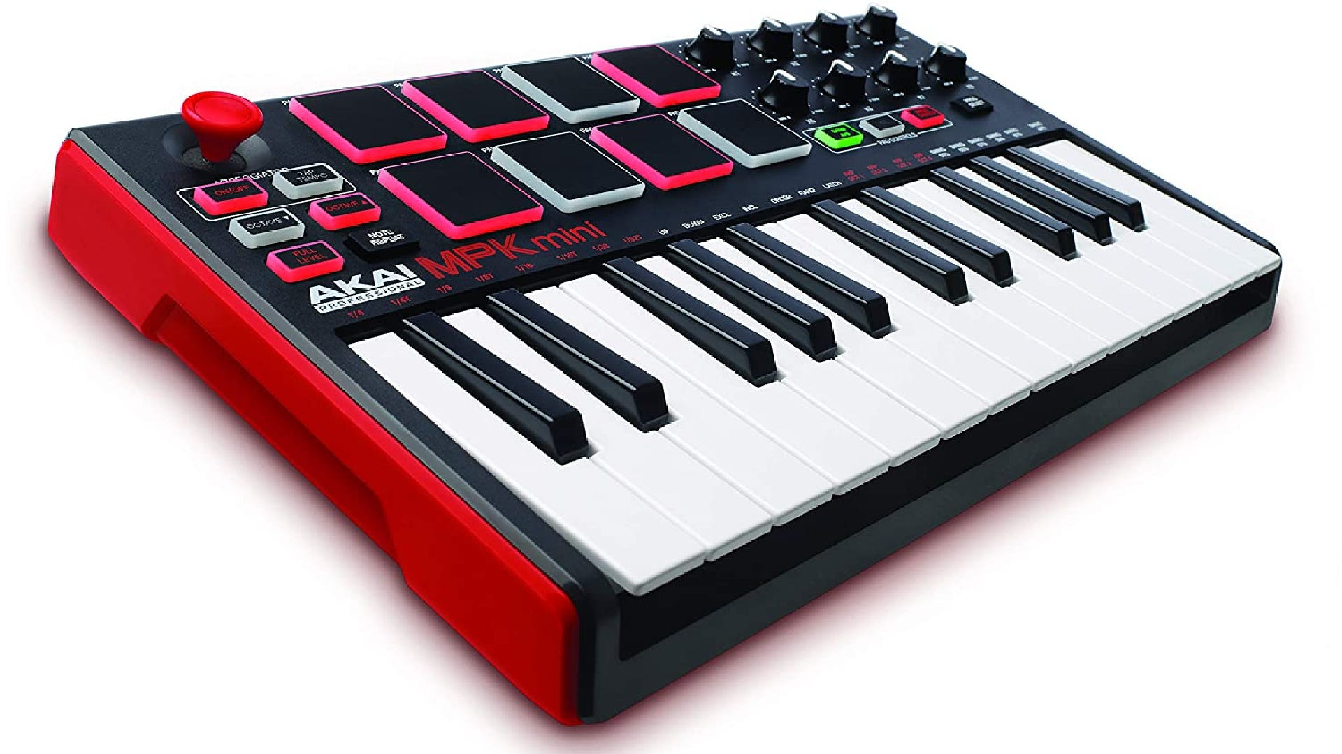 A compact MIDI keyboard with 8 multi-colored pads, 25 piano keys, and various knobs, and illuminated buttons.