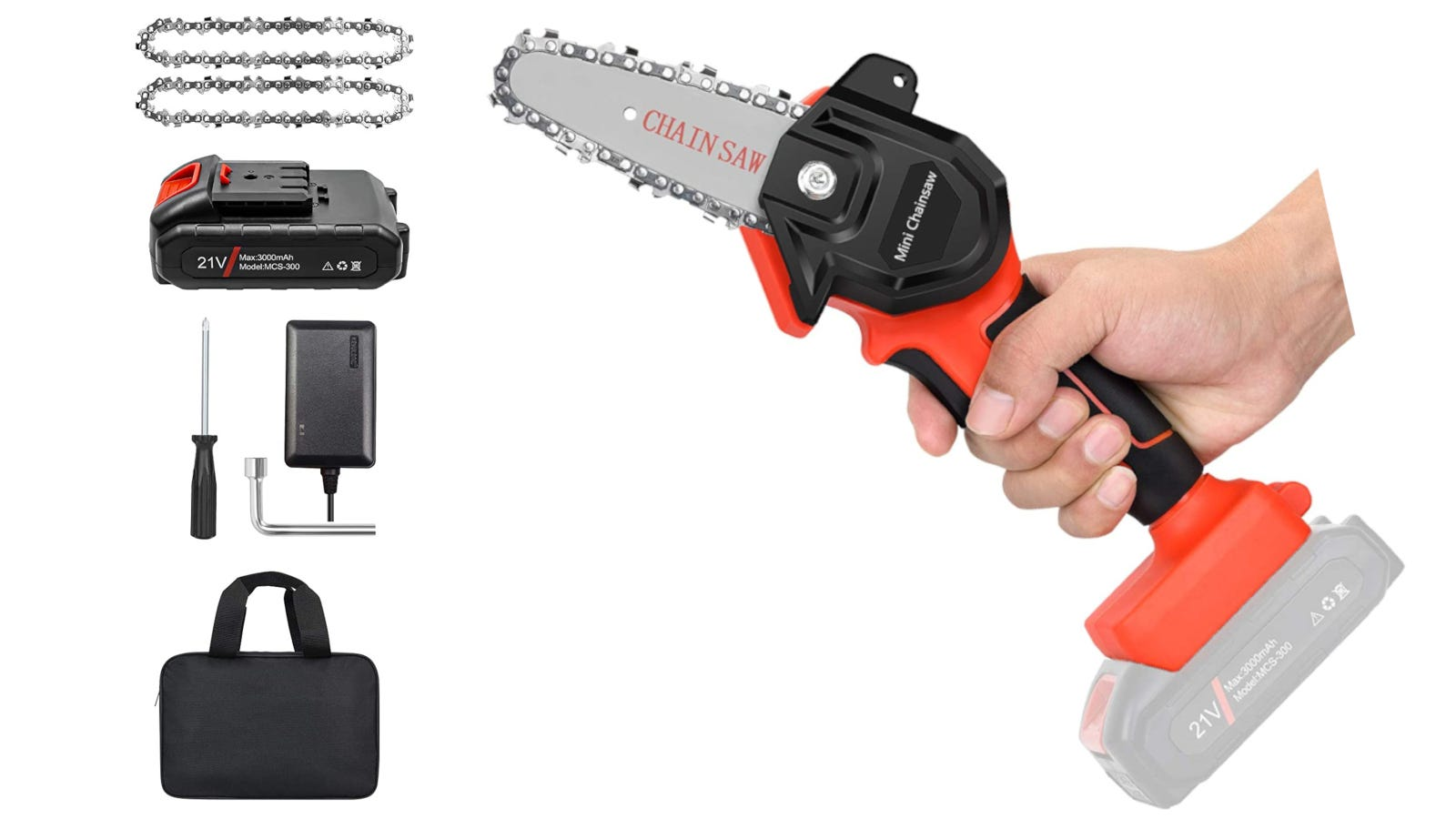 Orange mini-chainsaw with 4-inch blade, single-handed design, and copper wire high-efficiency motor