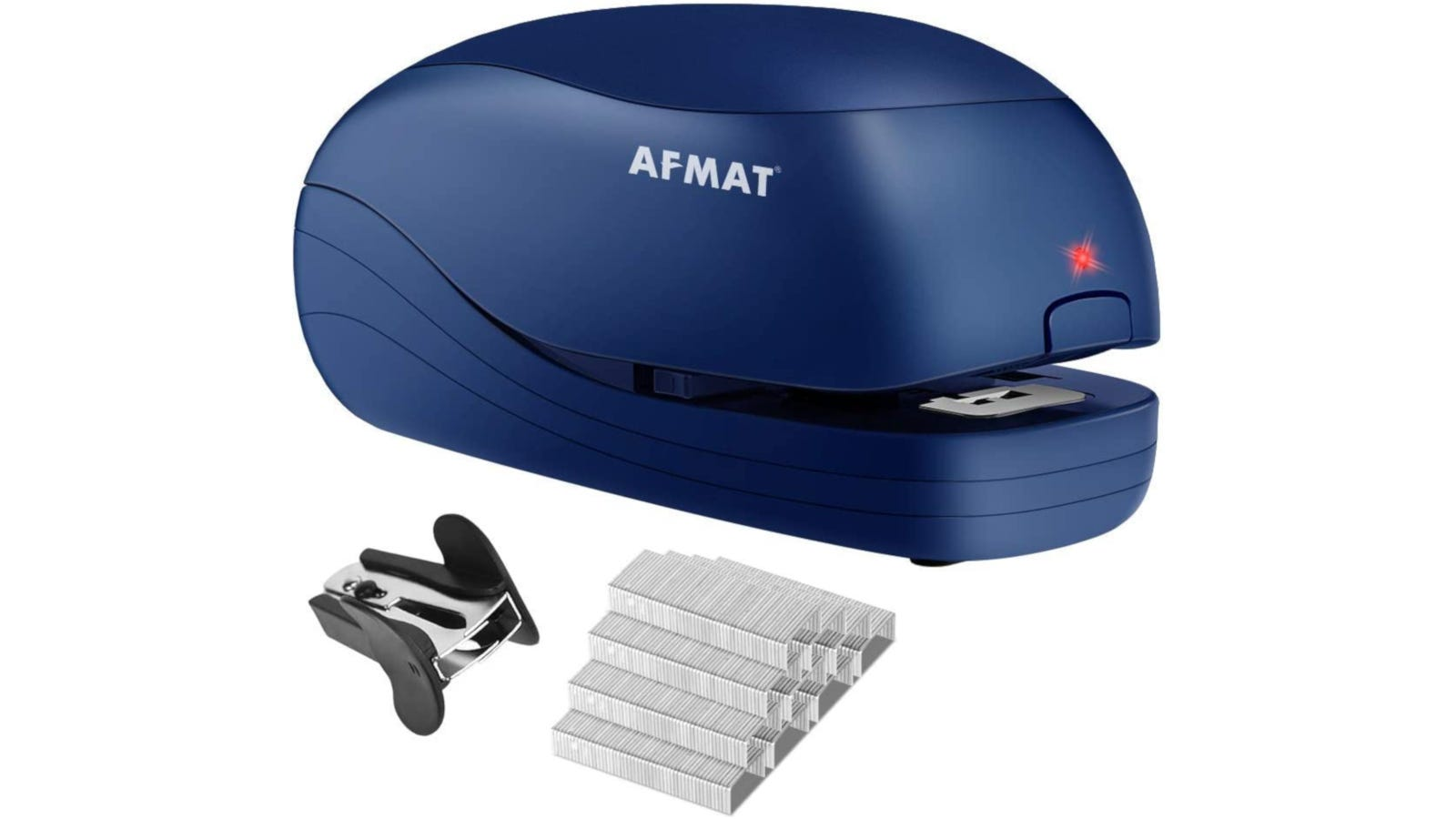 A blue electric stapler with a red light shown over a staple remover and stack of new staples.