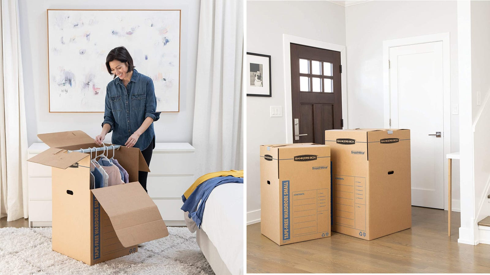 Two images of a woman packing a large wardrobe box with hanging clothes, to avoid wrinkling and folding, with an image of two wardrobe boxes placed by the door, ready for movers to grab and store in the truck.