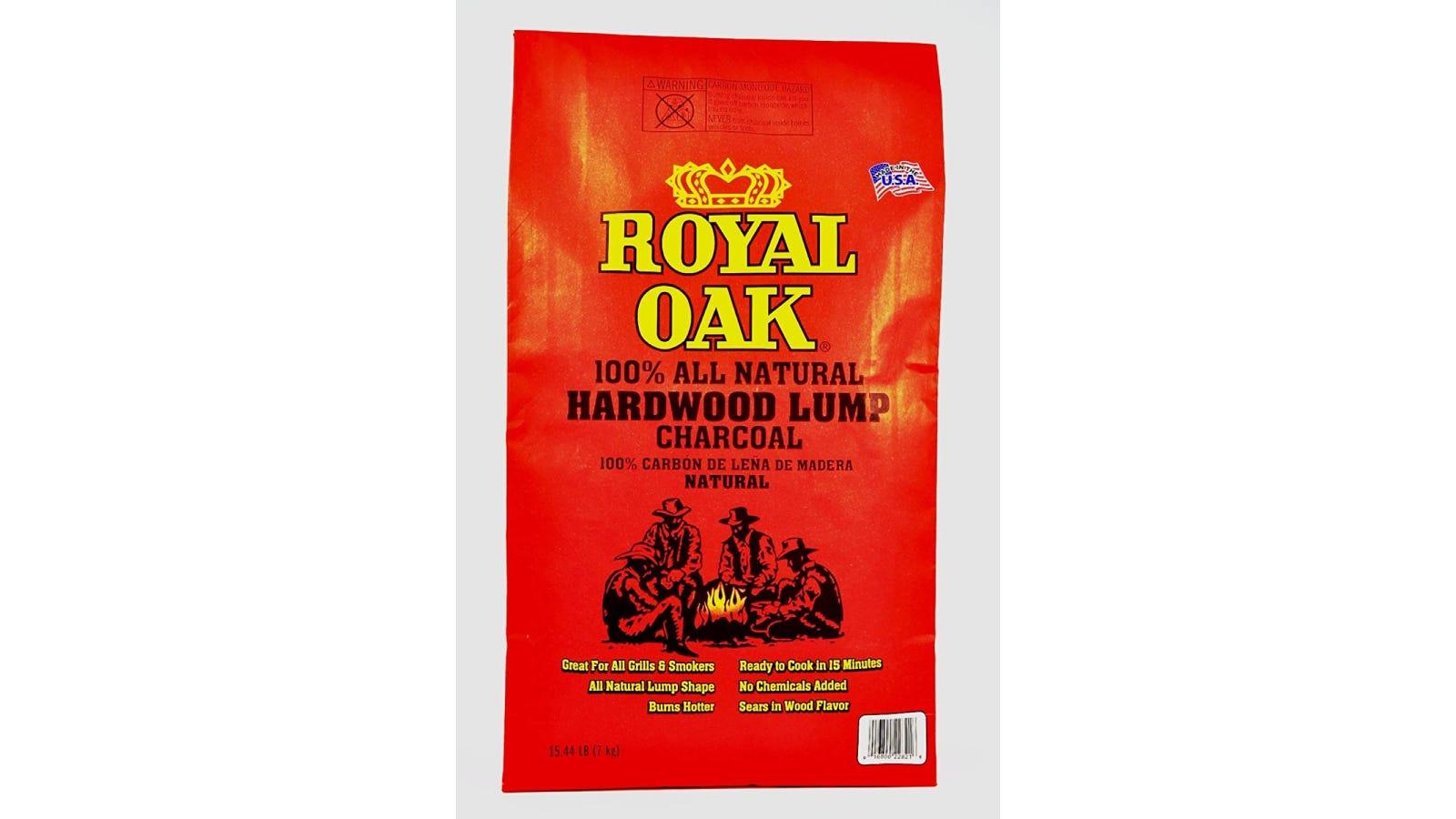 A red bag of Royal Oak charcoal.