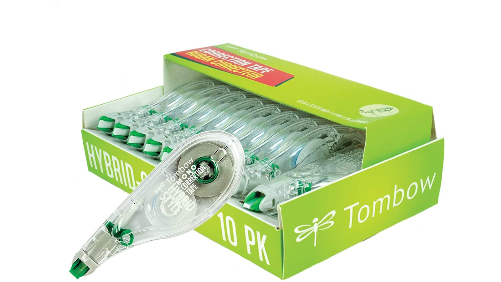 10 correction tapes within their green box packaging