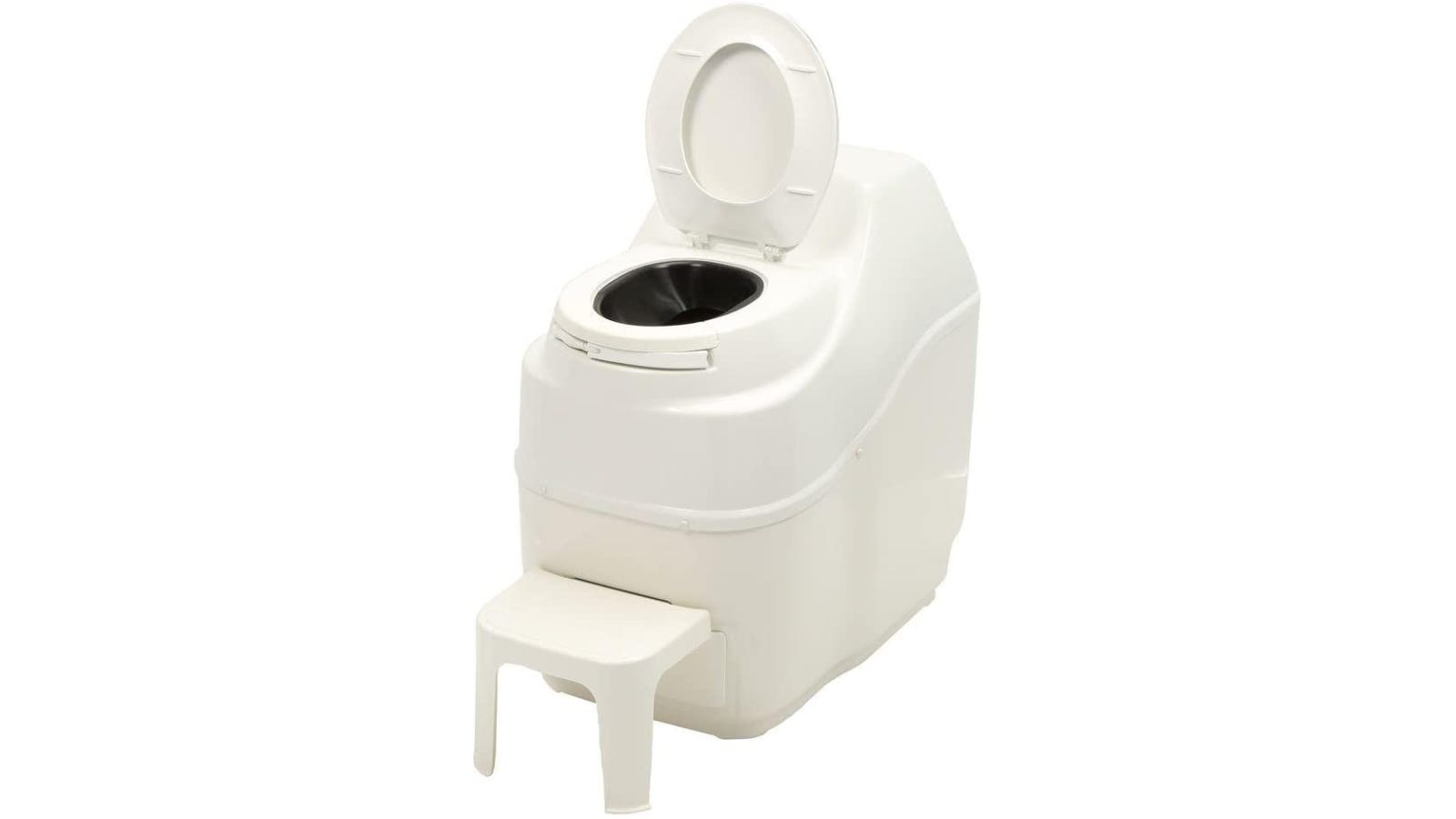 a large composting toilet with a stool