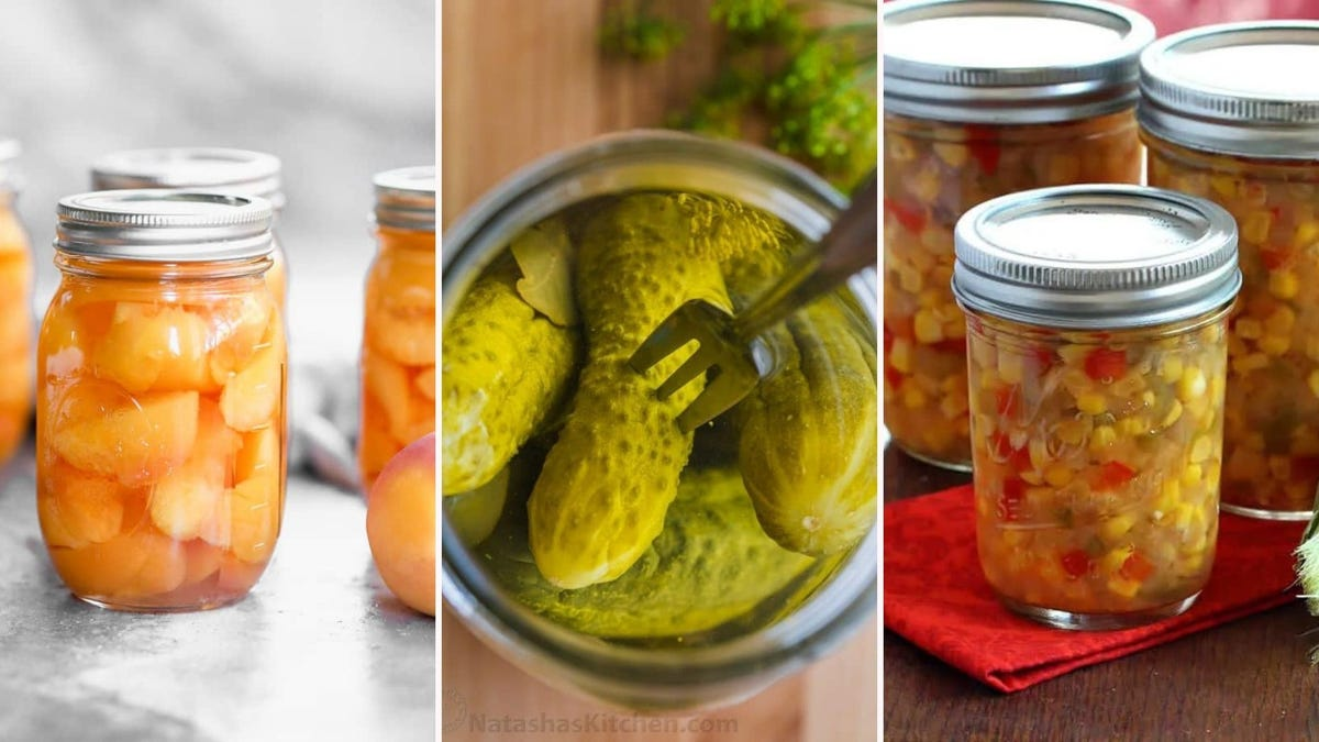 Canned peaches by Tastes Better from Scratch, canned pickles by Natasha's Kitchen, and corn relish by The Daring Gourmet.