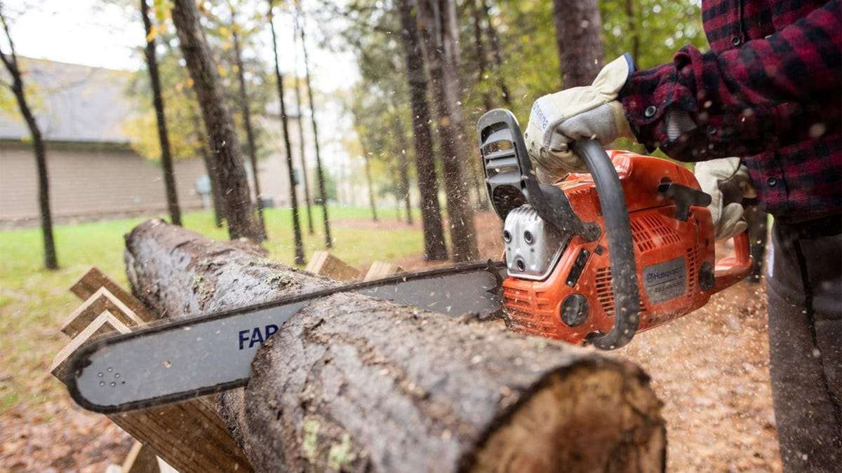 Person using orange gas-powered chainsaw to cut wood